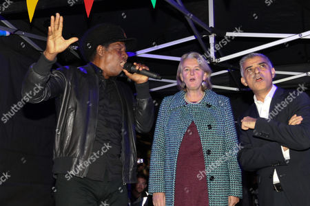 Stock Image of Eddy Grant, Councillor Lib Peck (Leader of Leader of Lambeth Council) and Sadiq Khan