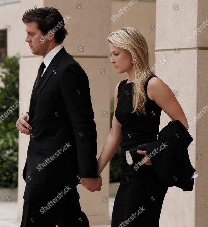 Ali Larter, Hayes MacArthur Actors Ali Larter, right, and Hayes MacArthur leave the funeral of David Carradine, in Los Angeles