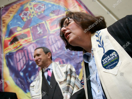 Stock Image of Denise Eger Rabbi Denise Eger of Kol Ami Reform Synagogue in West Hollywood, Calif., joins clergy of many faiths as they gather on the eve of a state Supreme Court hearing on Proposition 8, the California ballot measure that outlawed gay marriage, at the Episcopal Cathedral Center in Los Angeles . The passage of Proposition 8 last November changed the state constitution to prohibit gay marriage and trumped the high court's decision a few months earlier to legalize it. But the ballot measure was appealed and the justices are getting the final word on whether marriage is an institution that must accommodate two women or two men