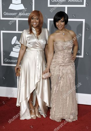 Stock Image of Mary Mary Tina Campbell, right, and Erica Monique Atkins of Mary Mary arrive at the 51st Annual Grammy Awards, in Los Angeles
