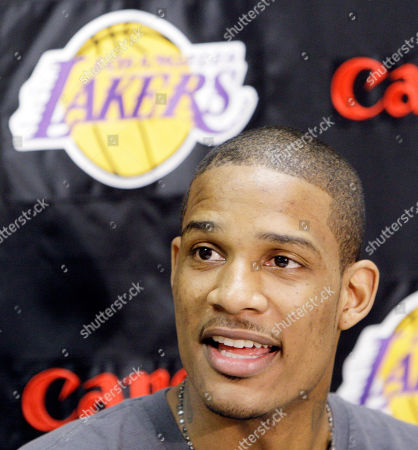 Stock Image of Trevor Ariza Los Angeles Lakers' Trevor Ariza speaks during a news conference in El Segundo, Calif., . Ariza said he would love to return to the Lakers next season. The fifth-year forward is a free agent, along with teammate Lamar Odom