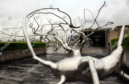 """Maelstrom,"""" a 130-foot-long by 45-foot-wide stainless-steel sculpture by American artist Roxy Paine, is on display at Iris and B. Gerald Cantor Roof Garden of The Metropolitan Museum of Art in New York"""