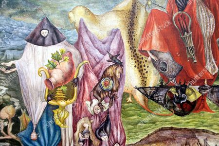"A detail from ""Chiki Ton Pays"" by English born and Mexican based artist Leonora Carrington, on exhibit during a preview of Latin American Art at Sotheby's in New York. Carrington, considered one of the last of the original surrealists died late . She was 94"