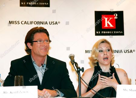 Miss California USA Pageant, co-executive directors, Keith Lewis, left, and Shanna Moakler, right, hold a press conference in Beverly Hills, Calif. on . Officials of the Miss California USA pageant strongly criticized some of the actions of title-holder Carrie Prejean on Monday but said it's not their decision whether she should be stripped of her crown