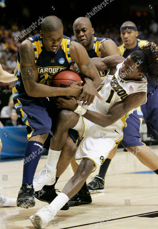 DeMarre Carroll, Wesley Matthews Marquette guard Wesley Matthews (23) and Missouri forward DeMarre Carroll (1) during the second-round men's NCAA college basketball tournament game in Boise, Idaho