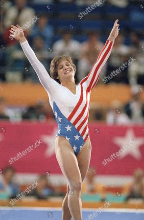 Mary Lou Retton celebrates her balance beam score at the 1984 Olympic Games in Los Angeles. Retton, 16, became the first American woman ever to win an individual Olympic gold medal in gymnastics