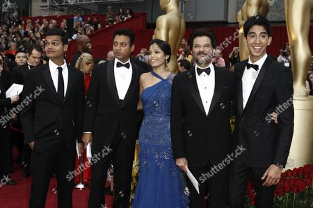 Freida Pinto, Anil Kapoor, Dev Patel, Madhur, Mittal, Irrfan Khan From left, actor Madhur Mittal, actor Irrfan Khan, actress Freida Pinto, actor Anil Kapoor and actor Dev Patel arrive for the 81st Academy Awards, in the Hollywood section of Los Angeles