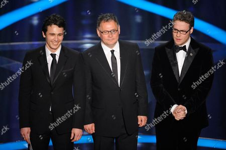 James Franco, Janusz Kaminski, Seth Rogen From left, James Franco, Janusz Kaminski and Seth Rogen present during the 81st Academy Awards, in the Hollywood section of Los Angeles