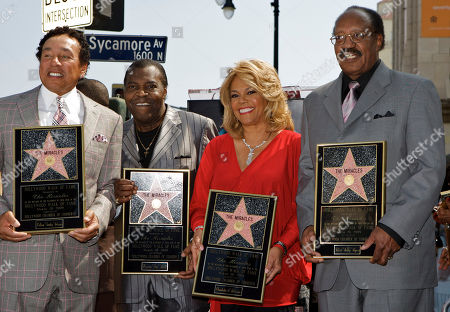 "William Smokey Robinson, Warren Pete Moore, Claudette Robinson, Robert Bobby Rogers Members of the Motown group,""The Miracles"" are honored with a star on the Hollywood Walk of Fame in Los Angeles on . From left: William ""Smokey"" Robinson, Warren ""Pete"" Moore, Claudette Robinson, and Robert ""Bobby"" Rogers"