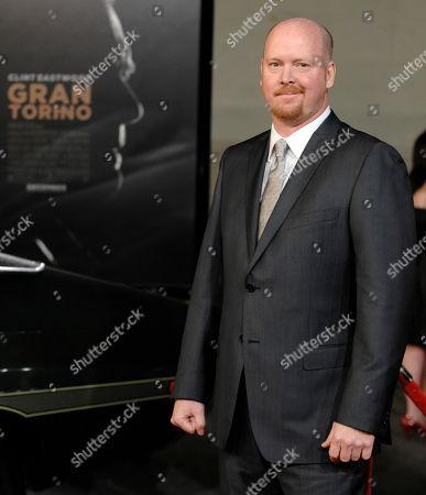 "Nick Schenk Gran Turino"" screenwriter Nick Schenk poses at the premiere of the film at Warner Bros. Studios in Burbank, Calif"