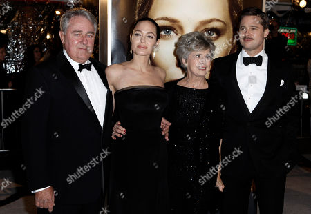 "Stock Photo of William Pitt, Angelina Jolie, Jane Etta Hillhouse, Brad Pitt From left, Brad Pitt's father, William Pitt, Angelina Jolie, Brad Pitt's mother, Jane Pitt, and Brad Pitt arrive at the premiere of ""The Curious Case of Benjamin Button"" in Los Angeles on"