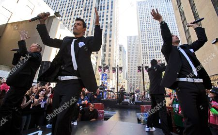 """Jordan Knight, Joey McIntyre, Donnie Wahlberg Donnie Wahlberg, left, Jordan Knight, second left, and Joe McIntyre, right, of New Kids on the Block, perform on the NBC """"Today"""" television program in New York"""