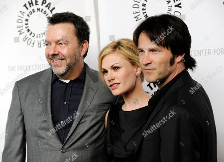 "Anna Paquin, Steven Moyer, Alan Ball Alan Ball, center, creator and executive producer of the HBO series ""True Blood,"" poses with cast members Anna Paquin and Steven Moyer at The Paley Center for Media's Paleyfest 09 in Los Angeles"