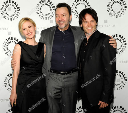 "Anna Paquin, Steven Moyer, Alan Ball Alan Ball, center, creator and executive producer of the HBO series ""True Blood,"" poses with cast members Anna Paquin, left, and Steven Moyer, at The Paley Center for Media's Paleyfest 09 in Los Angeles"