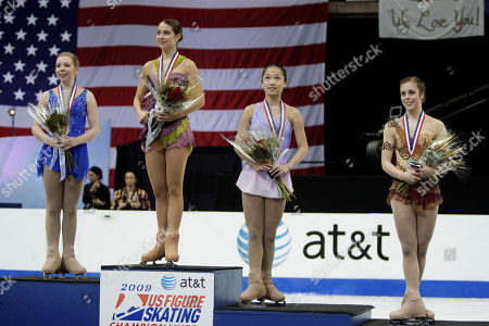 Rachael Flatt, Alissa Czisny, Ashley Wagner, Caroline Zhang The top finishers in the ladies competition pose during the medal ceremony at the U.S. Figure Skating Championships in Cleveland . From left: Silver medalist Racheal Flatt, gold medalist Alissa Czisny, bronze medalist Caroline Zhang and pewter medalist Ashley Wagner