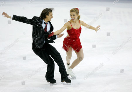 Stock Picture of Daniil Barantsev, Jennifer Wester Daniil Barantsev and Jennifer Wester perform during the original dance competition at the U.S. Figure Skating Championships in Cleveland