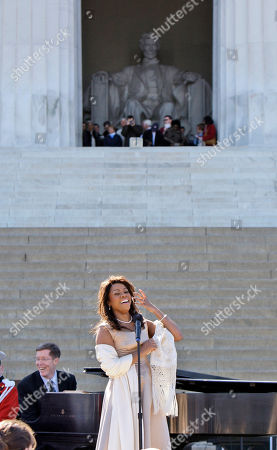 Denyce Graves Wearing Marian Anderson's gown, Denyce Graves performs during a concert to commemorate Marian Anderson's performance 70 years ago, at the Lincoln Memorial in Washington