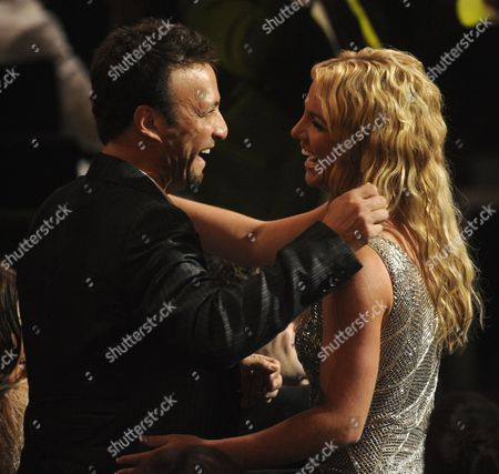 Britney Spears, Larry Rudolph Britney Spears and her manager, Larry Rudolph hug after she wins one of three awards at the 2008 MTV Video Music Awards held at Paramount Pictures Studio Lot, in Los Angeles