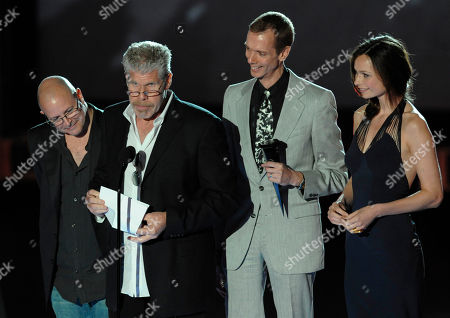 Mike Mignola, Ron Perlman, Doug Jones Anna Walton From left, Writer Mike Mignola, actor Ron Perlman, actor Doug Jones and actress Anna Walton accept the Award for Best Fantasy Movie, Hellboy II: Golden Army at the Scream Awards on in Los Angeles