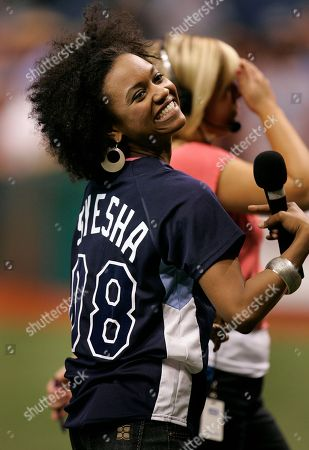 Syesha Mercado American Idol finalist Syesha Mercado, of Sarasota, Fla., smiles before singing the National Anthem prior to the start of the Los Angeles Angels and Tampa Bay Rays baseball game Friday night in St. Petersburg, Fla