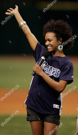Syesha Mercado American Idol finalist Syesha Mercado, of Sarasota, Fla., waves after singing the National Anthem before the start of the Los Angeles Angels and Tampa Bay Rays baseball game Friday night in St. Petersburg, Fla