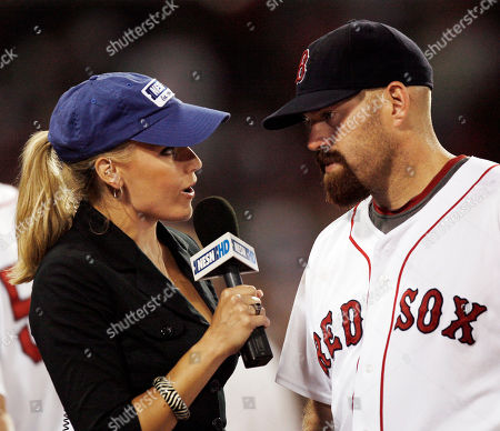 Heidi Watney, Kevin Youkilis New England Sports Network's Heidi Watney interviews Boston Red Sox's Kevin Youkilis after their baseball game against the Oakland Athletics at Fenway Park in Boston