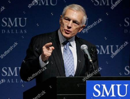"""Stock Image of Wesley K. Clark Former Supreme Allied Commander in Europe, General Wesley K. Clark U.S. Army Ret., addresses an audience at Southern Methodist University in Dallas . General Clark spoke on the topic of """"The Future of Conflict"""": Military Roles and Mission"""