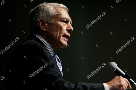 """Stock Photo of Wesley K. Clark Former Supreme Allied Commander in Europe, General Wesley K. Clark U.S. Army Ret., addresses an audience at Southern Methodist University in Dallas . General Clark spoke on the topic of """"The Future of Conflict"""": Military Roles and Mission"""