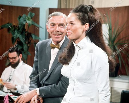 Stock Image of Dick Vosburgh, Gina Warwick, Frank Muir on 'We Have Ways of Making You Laugh' - 1968