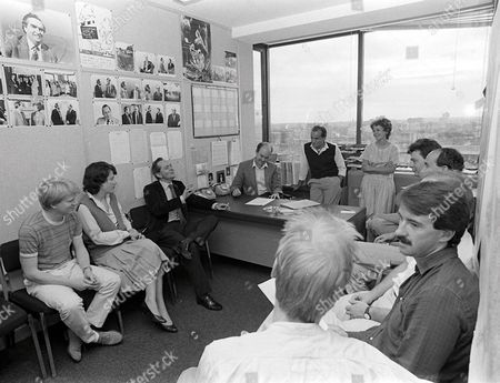 Stock Image of 'Weekend World' - 1977 - Poduction meeting with Brian Walden [Left by desk] and Peter Mandelson, far right of picture with moustache.