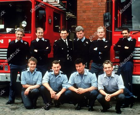 Stock Picture of 'London's Burning' - 1996 L-R Back Row: James Hazeldine, Richard Walsh, Andrew Kazamia, Sean Blowers, Rupert Baker and Ben Onwukwe. Front Row: Samantha Beckinsale, Ross Boatman, Glen Murphy and Stephen North.