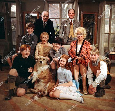 Stock Picture of 'Just William' - 1977 - Back row: Hugh Cross and John Stratton. Centre row: Craig McFarlane, Diana Fairfax, Adrian Dannatt and Diana Dors. Front row: Michael McVey, Bonnie Langford and Tim Rose.