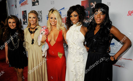 "Stock Picture of Aundrea Fimbres, Shannon Bex, Aubrey O'Day, D. Woods, Dawn Richard L-R) Aundrea Fimbres, Shannon Bex, Aubrey O'Day, D. Woods and Dawn Richard of Danity Kane arrive at Declare Yourself's ""Domino Effect"" Hollywood event to encourage young people to register to vote, in Los Angeles"