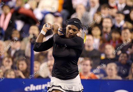 Serena Williams Serena Williams returns a shot against Russia's Elena Dementieva during the Pam Shriver PNC Tennis Classic exhibition match, in Baltimore
