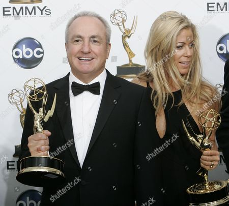 """Lorne Michaels, Marci Klein 30 Rock"""" executive producer Lorne Michaels, left, and Marci Klein, pose in the press room at the 60th Primetime Emmy Awards in Los Angeles, . """"30 Rock"""" won the award for outstanding comedy series"""
