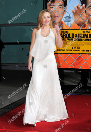 """Monica Keena Monica Keena poses as she arrives at the Los Angeles premiere of the film """"Harold & Kumar: Escape from Guantanamo Bay"""