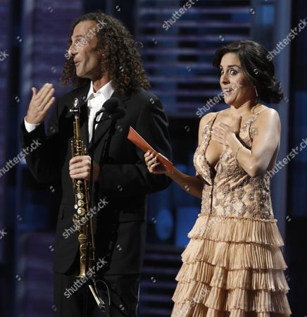Kenny G, Karyme Lozano Karyme Lozano and Kenny G are seen on stage at the 9th annual Latin Grammy Awards on in Houston