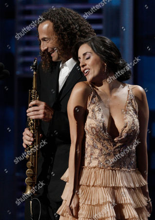 Karyme Lozan, Kenny G Karyme Lozano and Kenny G are seen on stage at the 9th annual Latin Grammy Awards on in Houston