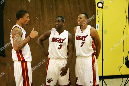 Michael Beasley, Dwyane Wade, Shawn Marion Miami Heat basketball players Michael Beasley, left, Dwyane Wade, center, and Shawn Marion during the annual media day, in Miami