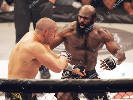 Kimbo Slice, James Thompson Shows Kimbo Slice, right, battling James Thompson of Manchester, England during their EliteXC heavyweight bout at the Prudential Center in Newark, N.J. Police in Florida say Slice has been taken to a hospital, though reason why wasn't immediately clear. Coral Springs Police Sgt. Carla Kmiotek said, that a local hospital told the department the fighter, whose real name is Kevin Ferguson, was a patient