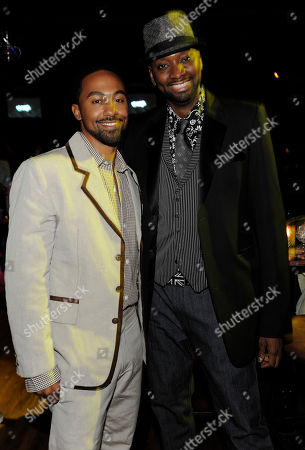 """Patrik-Ian Polk, Jensen Atwood Noah's Arc: Jumping the Broom"""" director Patrik-Ian Polk, right, and cast member Jensen Atwood pose together at the post-premiere party for the film in Los Angeles"""