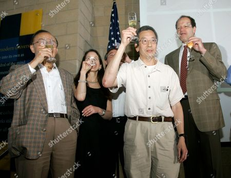 Roger Tsien PHD, DShu Chien MD, PhD, Joan Heller Brown Ph D, Dr David Brenner Roger Tsien, Ph.D., second from right, raises his champagne glass as colleagues' Shu Chien, Md., Ph.D.,(left) and Joan Heller Brown, Ph.D., and Dr. David Brenner, right, toast Tsien's Nobel Prize in chemistry in San Diego