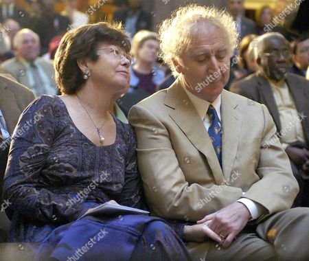 Gene Wilder, Karen Wilder Actor Gene Wilder, right, holds hands with wife Karen as he is introduced to receive the Governor's Awards for Excellence in Culture and Tourism at the Legislative Office Building in Hartford, Conn., . Wilder was one of four recipients of the award given by the Connecticut Commission on Culture and Tourism