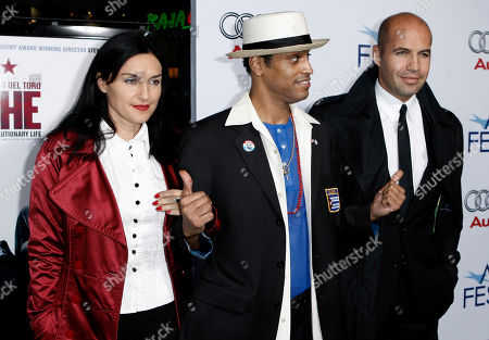 """Stock Image of Lisa Zane, Roberto Santana, Billy Zane Lisa Zane, left, Roberto Santana, center, and Billy Zane arrive at the premiere of """"Che"""" during AFI Fest 2008 on"""