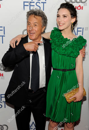 """Dustin Hoffman, Liane Balaban Dustin Hoffman, left, and Liane Balaban, cast members in """"Last Chance Harvey,"""" pose together at the premiere of the film during AFI Fest 2008 in Los Angeles"""