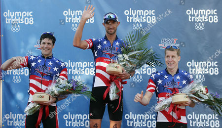 Matt Reed, Andy Potts, Hunter Kemper Winner Matt Reed of New Zealand, center, Andy Potts, left, and Hunter Kemper, right, react after the US Triathlon Olympic Trials in Tuscaloosa, Ala., . Reed won a spot on the USA Olympic team with the win