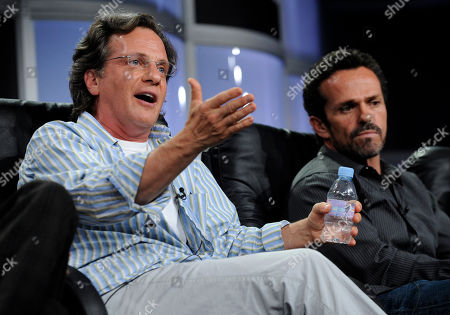"""Jonathan Prince, Warren Boyd Jonathan Prince, left, executive producer and co-creator of the A&E drama series """"The Cleaner,"""" participates in a panel discussion along with co-executive producer Warren Boyd during the Television Critics Association summer press tour in Beverly Hills, Calif"""