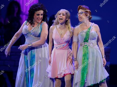"""Kerry Butler, Mary Testa, Jackie Hoffman Kerry Butler, center, performs a number with cast members Mary Testa, left, and Jackie Hoffman from the musical """"Xanadu,"""" during the 62nd Annual Tony Awards in New York"""