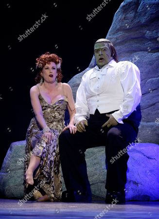 """Megan Mullally, Shuler Hensley Megan Mullally, left, and Shuler Hensley from the musical """"Young Frankenstein,"""" perform during the 62nd Annual Tony Awards in New York"""