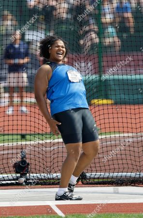 Aretha Thurmond Aretha Thurmond after throwing in the women's discus final at the U.S. Olympic Track and Field Trials in Eugene, Ore., . Thurmond placed first with a throw of 65.20 meters